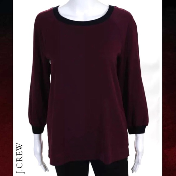 J. Crew Tops - J CREW Chic Maroon/Blk Color Block LS Blouse